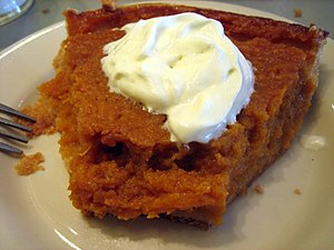 a slice of sweet potato pie