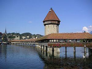 Kapellbrücke in Lucerne, Switzerland.