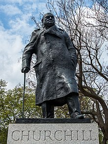 The statue of Winston Churchill, on the north-east corner of Parliament Square