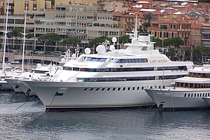 Mega yacht Lady Moura in Monaco harbor