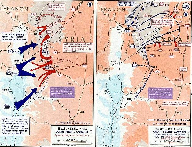 Χάρτης με τις μάχες στα Υψώματα Γκολάν (Πηγή: Wikipedia)