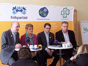 Allians för Sverige on a press conference in S...