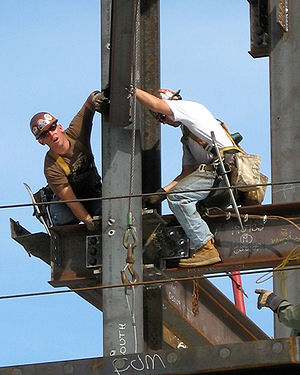 Ironworkers surprised by photographer, while e...