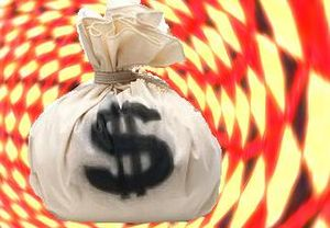 A bag of money, US dollars, spinning in a vortex of color, representing chicanery or misrepresentation of cost or economic information or data, but could represent outright financial fraud.