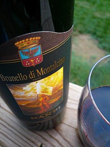The Italian wine Brunello from Tuscany made fr...