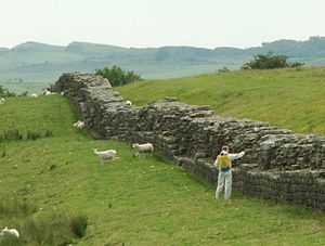 Hadrian's Wall near Birdoswald Fort. Man with ...
