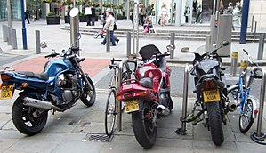 Some motorbikes parked in Manchester city cent...