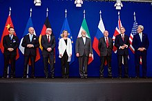 The ministers of foreign affairs and diplomats announcing an Iran nuclear deal framework in Lausanne on 2 April 2015