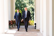 President Donald J. Trump welcomes President Moon Jae-in of the Republic of Korea on Friday, June 30, 2017, in the Rose Garden of the White House in Washington, D.C.