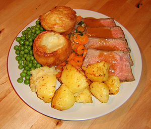 Roast beef with Yorkshire puddings, roast pota...