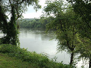 View of the Dan River in Danville, Virginia.