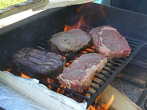 Large beef steaks over wood