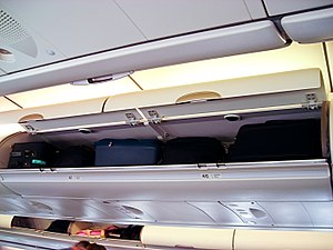 English: Luggage compartments of an Airbus 340...