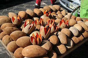 A bunch of mamey fruit in a market in Tepoztla...