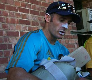 Mike Hussey at a training session at the Adela...