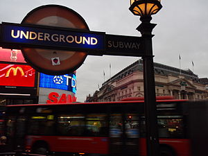 A London Underground roundel at one of the ent...