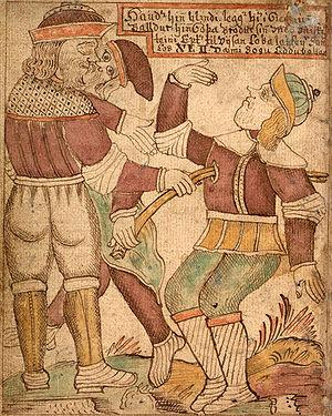 An illustration of the blind Höðr killing Bald...