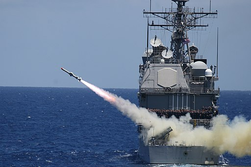 US Navy 080711-N-5874W-017 The guided-missile cruiser USS Lake Erie (CG 70) fires a Harpoon anti-ship missile during the Rim of the Pacific (RIMPAC) maritime exercise