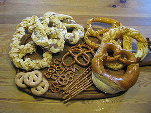 English: Selection of sweet and hearty pretzel...
