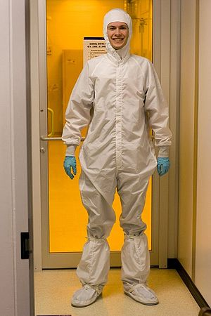 Matt Britt wearing a bunny/moon/cleanroom suit