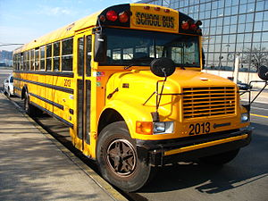 A school bus photographed in New York, New Yor...