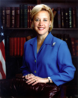 Louisiana Senator Mary Landrieu, standing in f...