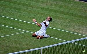 English: Novak Djokovic celebrates his 2011 Wi...