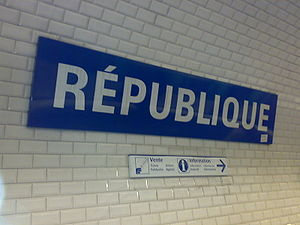 République station on the Paris Métropolitain ...