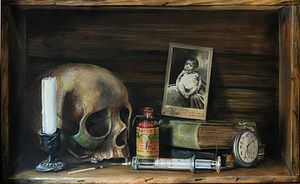 English: Vanitas symbolizing childhood disease...