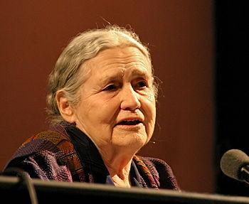 English: Doris Lessing, British writer, at lit...