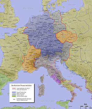 Holy Roman Empire (outlined in red) at Otto's ...