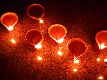 The diwali diyas at Diwali Celebrations at Ban...