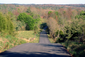 English: A hilly road in rural . Photo looks s...