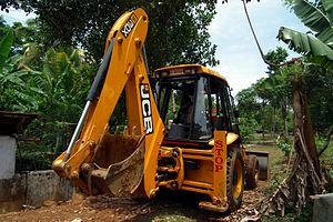 English: Rear view of a JCB 3DX backhoe loader...
