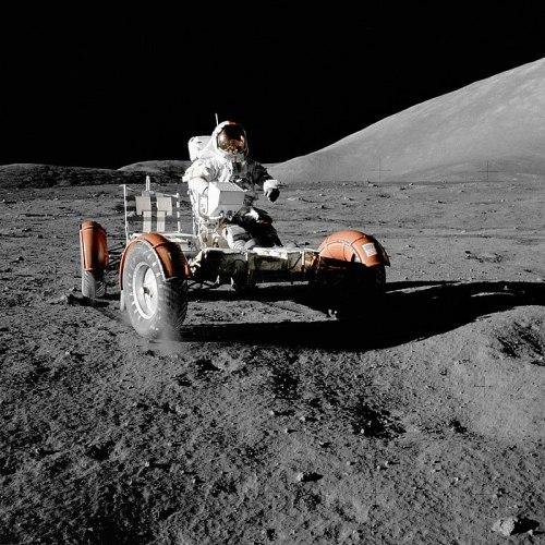 Gene Cernan aboard the Lunar Rover during Apollo 17. (Image: Wikipedia)