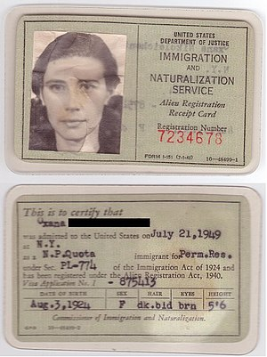 Alien Registration Receipt Card