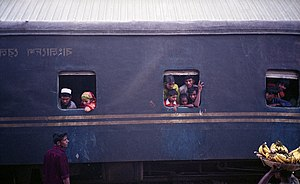 Passengers on a train, Bangladesh.