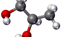 3D Stick-and-ball model of propylene glycol mo...