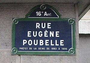 Plaque de la rue Eugène Poubelle, Paris 16e Eu...