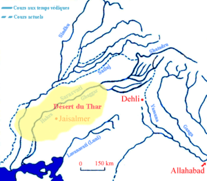 Course of Sarasvati river through Thar desert