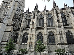 English: The side wall of St John The Divine.