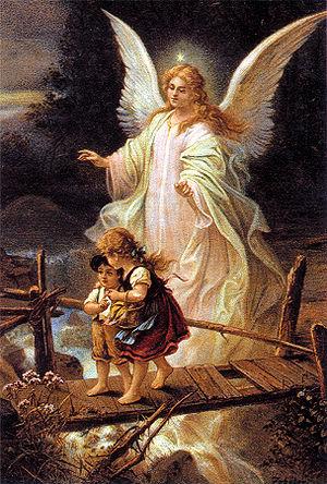 Guardian Angel, German postcard 1900