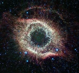 A newly expanded image of the Helix nebula len...
