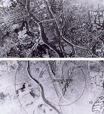 Nagasaki, Japan, before and after the atomic b...