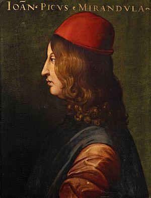 Giovanni Pico della Mirandola; portrait by an ...