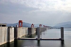Three Gorges Dam spans the Yangtze River in Sa...