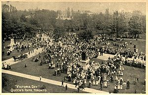 Postcard of Victoria Day celebrations at Queen...