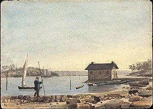 Woolloomooloo Bay in 1855 (watercolour)
