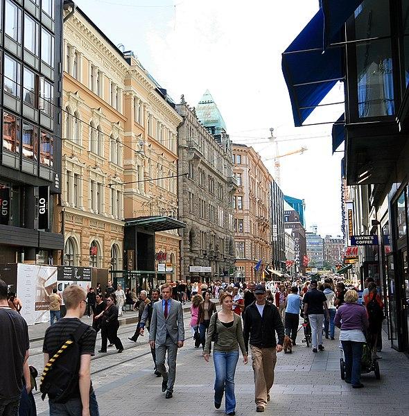 File:Aleksanterinkatu Helsinki summer.jpg