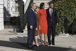 President George W. Bush and Mrs. Laura Bush w...